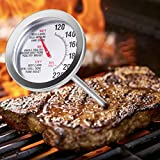 QWV Roasting Meat Thermometer, Oven Safe, Large 2.5-Inch Easy-Read Face, Stainless Steel Stem and Housing Safe Waterproof Classic Design BBQ Poultry Probe Cooking Meat Thermometer