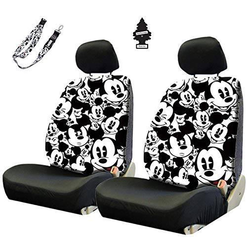 Yupbizauto Disney Mickey Mouse Sideless Car Seat Covers Accessories Set with Air Freshener