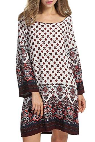 Balancora dames Bohemian tuniek jurk strandjurk mini jurk vintage strandtuniek herfst A-lijn katoen loose fit 3/4-arm ronde hals
