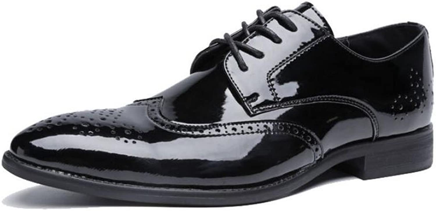 Men's Pointed Business Casual Leather shoes 2018 Spring Fall Winter Mens Office Party Large Size Formal shoes Dress shoes (color   Black, Size   46)