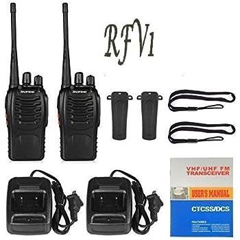 RFV1(tm) BF-888S UHF 400-470MHz CTCSS/DCS Handheld Radio Walkie Talkie Two Way Radio Long Range Black 2 Pack