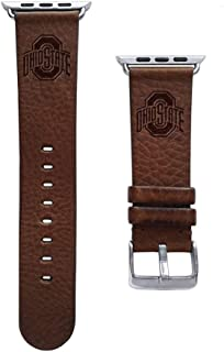 Affinity Bands Ohio State Buckeyes Top Grain Oil Tanned Leather Band Compatible with The Apple Watch - Available in Three Leather Colors - Long Length - Band ONLY
