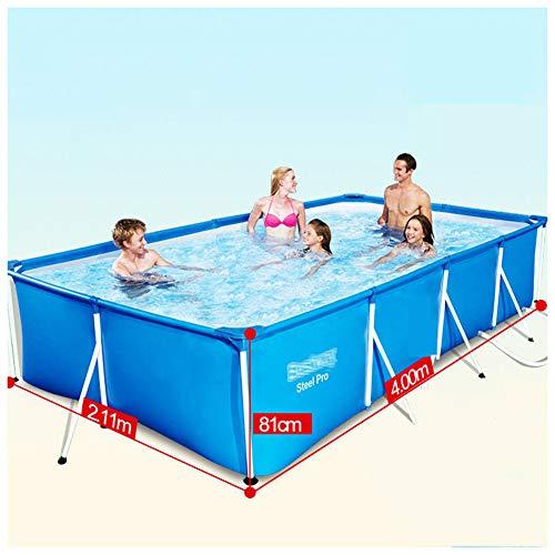 YKHOME Grande Piscina, Centro di Nuoto per Bambini E Adulti,con Staffa in Tubo d'Acciaio, Rettangolare da Giardino Stagno da Pesca di Grande capacità Ispessito Blu,400 * 211 * 81 cm