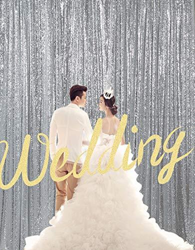 Kate Fotohintergrund Pailetten Silber Hochzeit Dekoration 3x3m/10X10ft Glitzer Photo Booth Hintergrund Festival Party Glitzer Vorhang