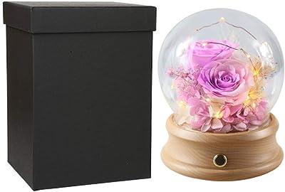 プリザーブドフラワー ドライフラワー バラ ブルートゥーススピーカー、ガラスのドーム、手作りプリザーブドローズギフトに赤いバラの花で永遠のローズ魅惑の実ローズランプライト 母の日、記念日プレゼント、結婚式、バレンタイン、彼女への最高の贈り物 (Color : Pink purple, Size : Free)