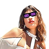 LED Glasses for Parties - LED Bluetooth Glasses for Festivals & Raves - Cool Glasses to Display Customized Flashing Messages & Animations via Bluetooth on Our App - Halloween (Pink)