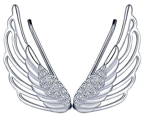 Infinite U - Eleganti orecchini a perno in argento Sterling 925 a forma di ali di angelo, con zirconi, per donne/ragazze, color argento