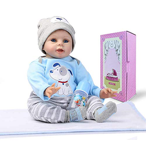 Aimeedoll 22inch Reborn Baby boy Doll in Blue Puppy Dog Dress Handmade Weighted Body Smiling face Rooted Hair Newborn