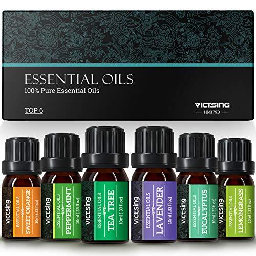 VicTsing 6*10ml Aceites Esenciales para Difusor,100% Puro Natural Set de Regalo de Perfume de Aceites,-Naranja Dulce, Lavanda, Arbol de Té, Hierba de Limón, Eucalipto y Menta,etc.Morado