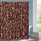 Modern Shower Curtain Chocolate Roasted Coffee Grains Shower Curtain W72 xL78