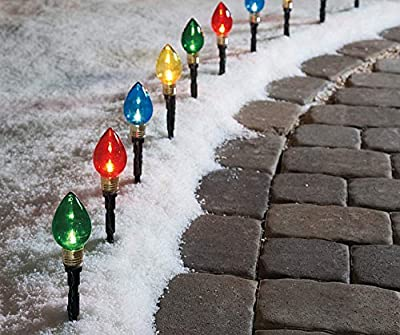 Winter Wonder Lane Multi-Color Light Bulb Pathway Markers, 11 Inch (2.76 Inch Bulb)