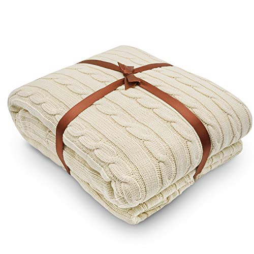Yachee Cotton Knitted Throw Blanket, Superior Combed Cotton Couch Cover, Large Size(71 * 79inch) Extra Soft Throws Blanket for Bed, Sofa(Cream, 180x200cm)