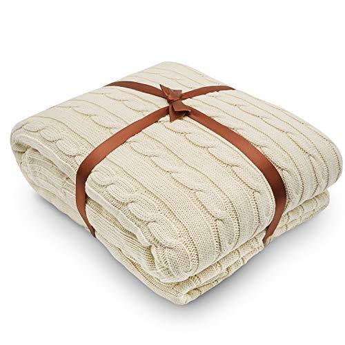 Yachee Superior gekämmte Baumwolle Strickdecke Couch Überzug Extra weiche Decke für Bett Sofa, cremefarben, 180x200cm