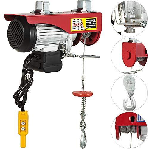 Polipasto Eléctrico para Elevación 500 kg, Elevador Eléctrico 900 W para Garaje Auto con Control Remoto, Elevador de Cable en Acero de Aleación con Longitud de 12 m