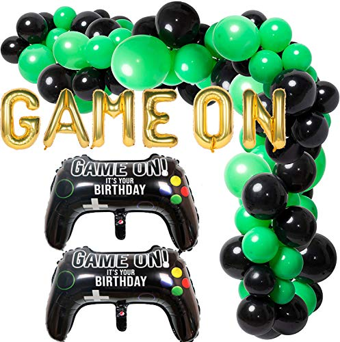 110 Pcs Balloon Garland Arch Kit for Video Game Party Game On Birthday Party Decoration Supplies Green Black Latex Balloons Game Controller Foil Balloon