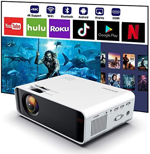 SOTEFE WiFi Proiettori 1080P Full HD - Bluetooth Videoproiettore Portatile Supporto 4K Scarica Applicazione Video Pellicola Online WiFi per Smartphone TV-Box, HDMI, TF SD Carta, Console di gioco