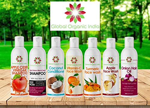 GLOBAL ORGANIC INDIA SPECIAL LUXURY KIT FOR SKIN AND HAIR - APPLE CIDER VINEGAR SHAMPOO+RED ONION SHAMPOO+COCONUT CONDITIONER+ONION OIL+TURMERIC FACE WASH+APPLE FACE WASH+VITAMIN C FACE WASH