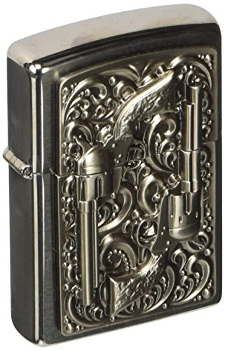 Original Zippo Revolver, Red Indians, Brushed Chrome