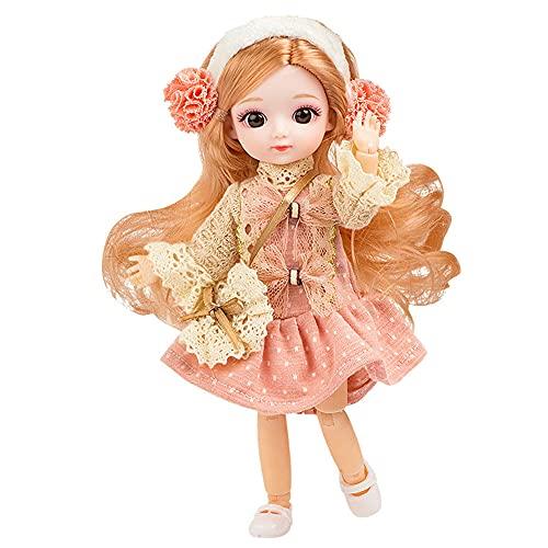 BESTWALED 8' Vestirse Muñeca De Trapo Moda Figuras Princesa Muñeca Niña Jugar A La Casa Muñeca Recoger Figuras De Juguete Niño Adornos Creatividad Año Nuevo Regalo,Rosado