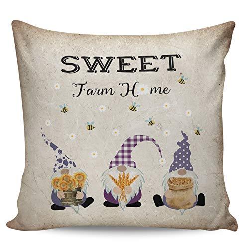 Scrummy Fundas de almohada de 45,72 x 45,72 cm, diseño retro de gnomo, margarita, girasol, abeja, funda de cojín cuadrada para decoración del hogar