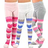 TeeHee (Naartjie) Kids Girls Fashion Cotton Tights 3 Pair Pack (6-8 Years, Stripe with Heart)