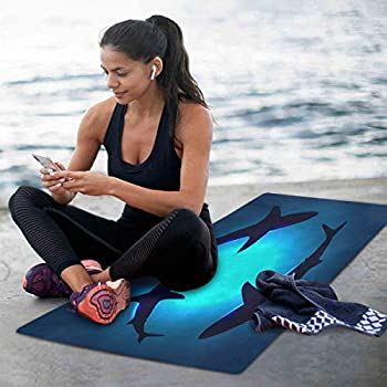 WELLDAY Yoga Mat Non Slip Floating Sharks Excercise Mat for Pilates Fitness Workouts with Storage Bag