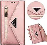 Compatible con Xiaomi Mi 10 Lite, funda de piel, cartera, funda con cremallera, con 5 ranuras para tarjetas, oro rosa