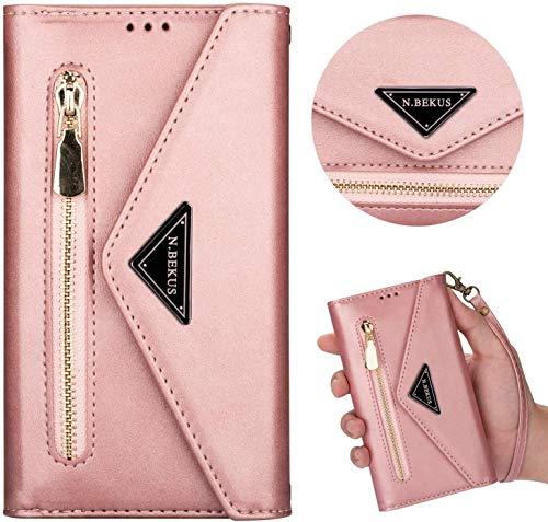 Kompatibel mit Samsung Galaxy S8 Plus Hülle Leder Tasche Brieftasche Flip Wallet Case Schutzhülle Handyhülle Reißverschluss Geldbörse Klapphülle Handytasche mit 5 Kartenfächer,Roségold