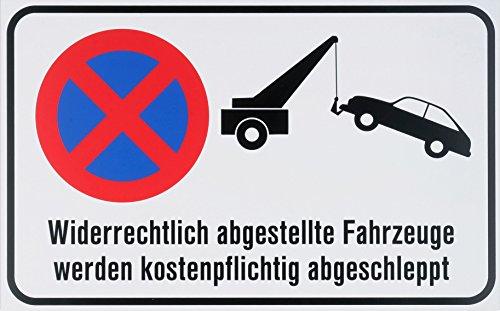 """Metafranc Hinweisschild \""""Abschleppen\"""" - 400 x 250 mm / Beschilderung / Infoschild / Verbotsschild / Halteverbot / Parkverbot / Grundstückskennzeichnung / Gewerbekennzeichnung / 501090"""