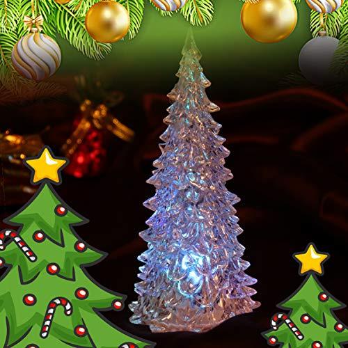 Beaupretty 3 Stück Beleuchtete Weihnachtsbaum Figur Farbwechsel LED Acryl Urlaub Baum Weihnachten Tischplatte Dekoration für Mittelstücke Fenster Schreibtisch Kaminsims Geschenk Weiß