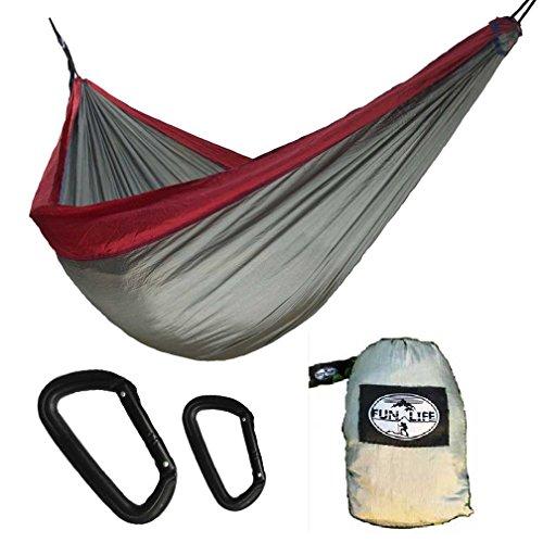 MoDaBB Outdoor Double Size Travel Hammock Portable Parachute Nylon Fabric Hammock with Ultra Light Weight Aluminum Carabiner
