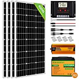 ECO-WORTHY 400W 24V Solar Power System for RV Off Grid 1.6KWH Solar Panel Kit with Battery and Inverter: 400W Solar Panels + 60A Charge Controller + 2pcs 50Ah Lithium Battery + 1500W Solar Inverter