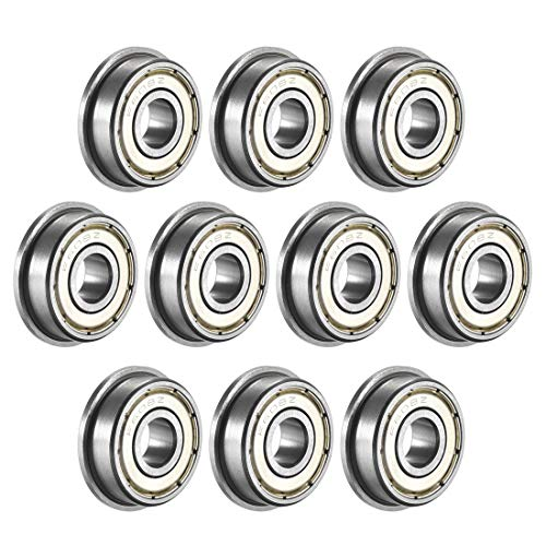 uxcell F608ZZ Flanged Ball Bearing 8x22x7mm Double Metal Shielded (GCr15) Chrome Steel Bearings 10pcs