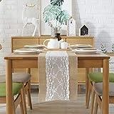 GLCS GLAUCUS 5 Stück Jute Tischläufer mit Weiß Spitze, Weihnachten Winter Juteband Spitzenband 30*275 cm Vintage Tischdekoration Tischband für Hochzeit, Fest, Party - 6