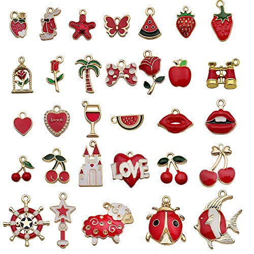 Colorful Charms,30PCS Mini Gold Assorted Designer Charms Bracelets Pendants Necklace Bangle Charms for Jewelry Making L red