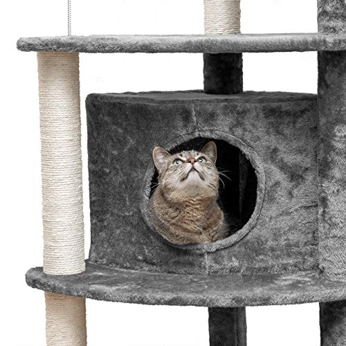Furhaven Pet Cat Tree | Tiger Tough Cat Tree House Condo Perch Entertainment Playground Furniture for Cats & Kittens, Platform House Playground, Gray