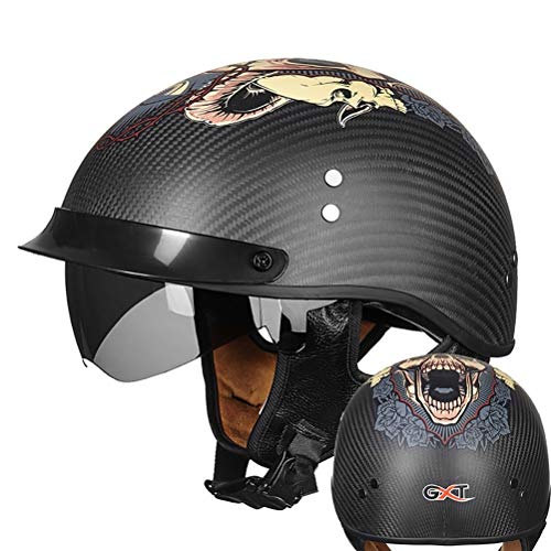 ZPTTBD Casco Moto Abierto ECE Homologado Retro Harley Half Moto Cascos Helmet con Visera Casco Moto Jet para Mofa Crash Cruiser Scooter Biker Racing (Color : F, Size : L=(57~58CM))