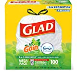 Glad Tall Kitchen Drawstring Trash Bags - Odor Shield 13 Gallon White Trash Bag, Gain Original with Febreze Freshness - 100 Count