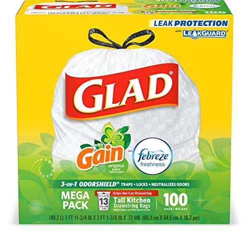 Glad Tall Kitchen Drawstring Trash Bags - OdorShield 13 Gallon White Trash Bag, Gain Original with...