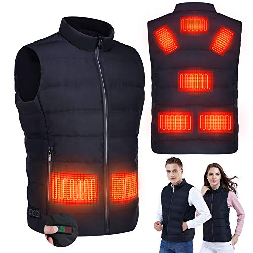 RYNX Heated Jacket Vest, 5V USB Charging Warm Vest for Men Women Temperature Adjustable, Built-in 8 Pcs Heating Pad,Washable Heated Jacket for Outdoor Hike, Fishing, Camping,Pain Relief (Black, M)