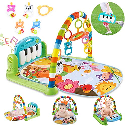 Baby Gym Jungle Musical Playmats For Floor, Kick And Play Piano Gym Activity Center With Music, Light, 5 Stimulating Sensory Baby Learning Toys For Infant Boys Girls 0 3 6 9 12 Months, Ideal Baby Gift