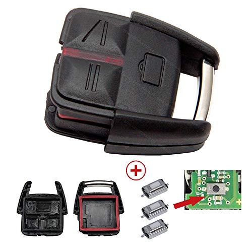 Repair Reparatur Satz Auto Schlüssel Austausch Gehäuse mit 1x 3 Tasten + Drucktaster kompatibel für Opel Vectra C Signum