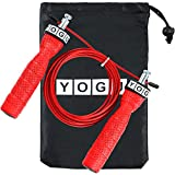 YOGU Speed Jump Rope Adjustable Jumping Ropes Perfect for Double Unders, Exercise Crossfit Fitness Workout, Weight Loss, WOD, MMA, & Boxing Training Ropes (Red)