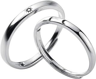 Carol&Allen 925 Sterling Silver Couple Rings Sun Moon High Polish Adjustable Loose Bands Fashion