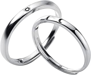 925 Sterling Silver Couple Rings Sun Moon High Polish Adjustable Loose Bands Fashion
