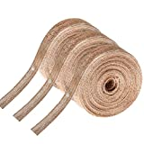 pengxiaomei 3 Rolls Natural Burlap Ribbon Beautiful Jute Fabric Ribbon for Gift Crafts Wrapping Wedding Party Home Decor