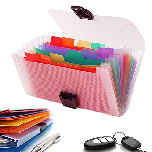 13 Pockets Accordian File Organizer, Geila A6 Size Mini File Folders Expandable Rainbow Accordian File Manager Folder A6 Plastic Wallet for Storage Invoice/Receipt Information/Cards/Coupon Photo #6
