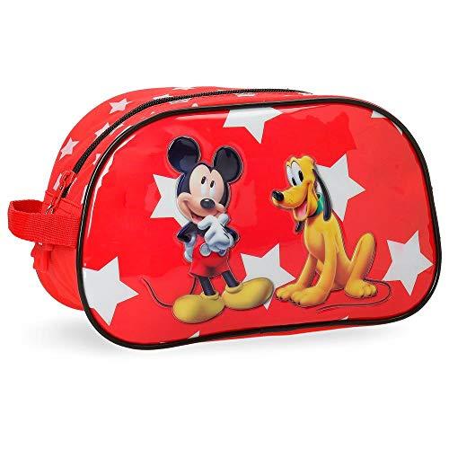Disney 2064451 Mickey Y Pluto Beauty Case da Viaggio, Litri 3.36, Rosso