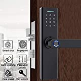 Rosvola Fingerabdruck Türschloss, Schwarze intelligente Diebstahlsicherungskarte und Passwort und Schlüsselsicherheitssystem für das Home Office