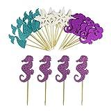 Mermaid Cupcake Toppers, 24 Pcs Mermaid Theme Cupcake Toppers, Mermaid Tail Cupcake Toppers, Seahorses Starfish Cupcake Toppers